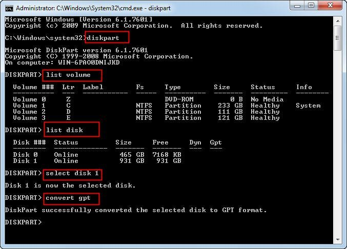 Use DiskPart to Convert Disk from MBR to GPT in Windows 10/8/7