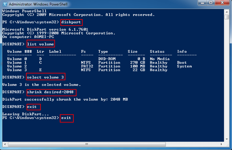 Shrink Partition PowerShell