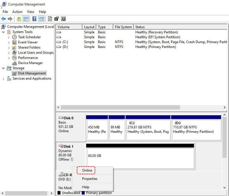Fix Dynamic Disk Missing/Offline in Windows 10/8 1/8/7 [Case