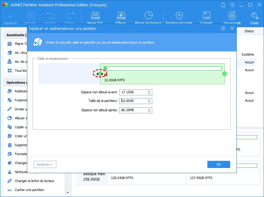 Réduire la partition