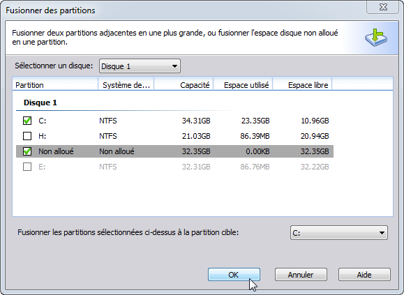 Augmenter partition C