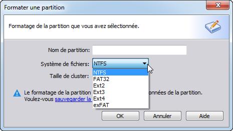 Choisissez le système de fichiers NTFS