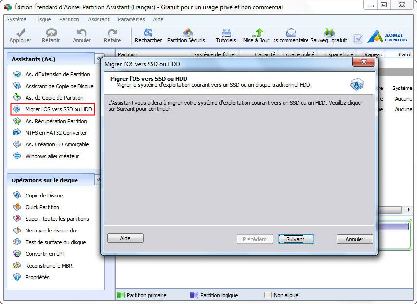 The interface of migrate OS to SSD window