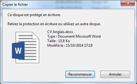 Le disque est protégé en écriture