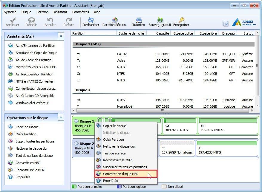 Le disque selectionné est du style de partition GPT