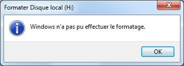 Windows pas effectuer le formatage