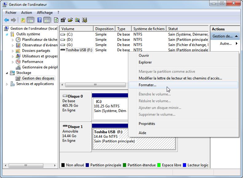 logiciel pour formater clé usb toshiba