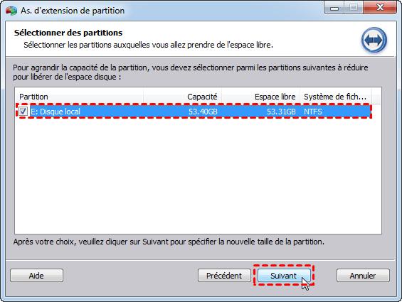 Sélectionner partition