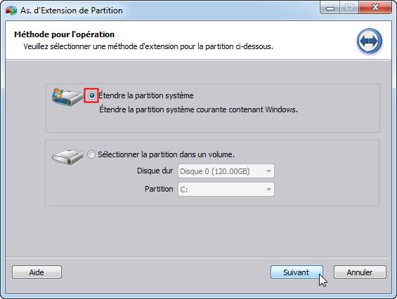 Étendre la partition système
