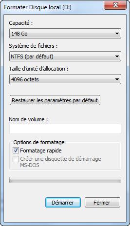 Formater NTFS en FAT32