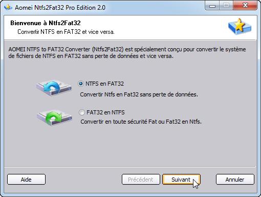 Convertir NTFS en FAT32
