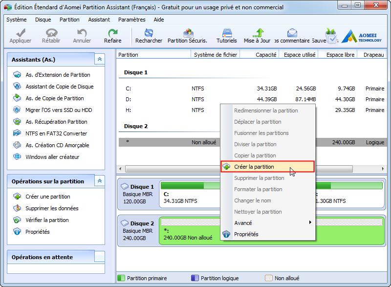 Créer une partition avec Partition Assistant