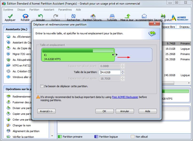 Supprimer partition récupération disque dur externe