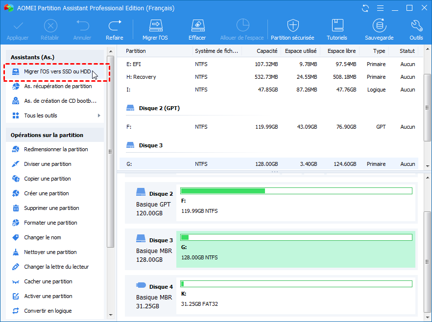 The Screenshot of Migrate OS to SSD or HDD Function