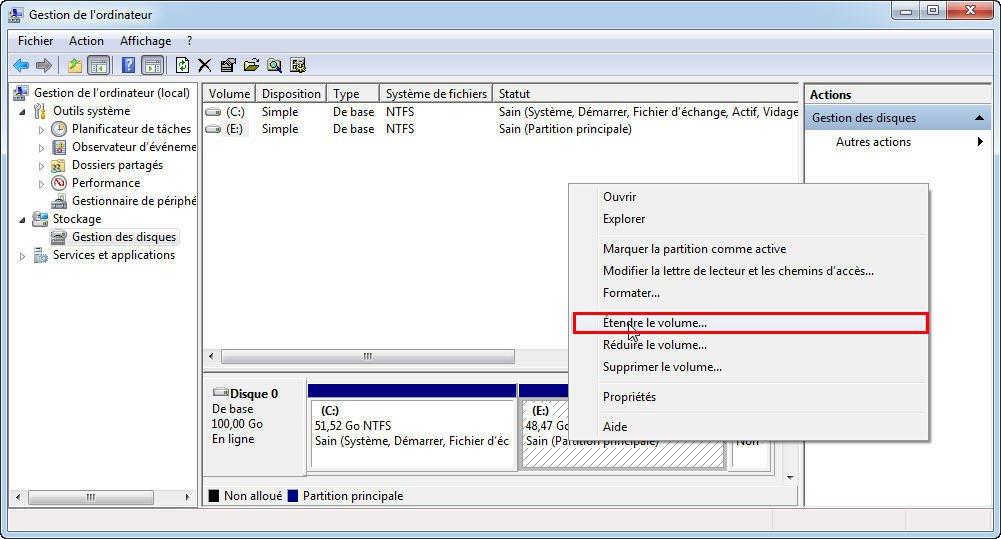 Resize NTFS Partition Menu