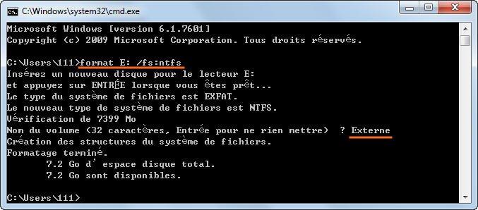 Formater exFAT CMD