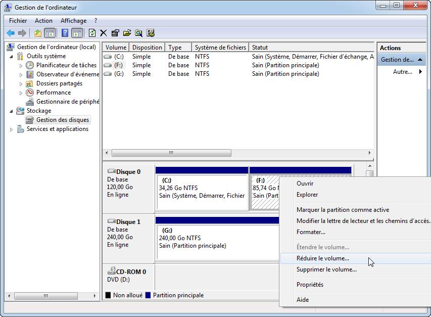 Facilement g rer et partiitonner un disque dur sous windows 10 for Reduire fenetre windows