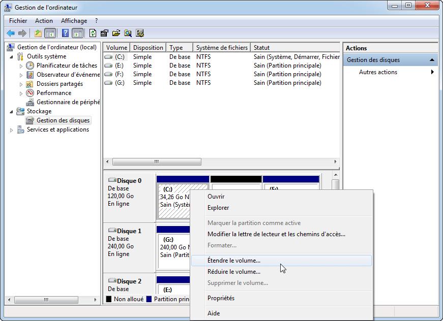 Étendre volume gestion du disque
