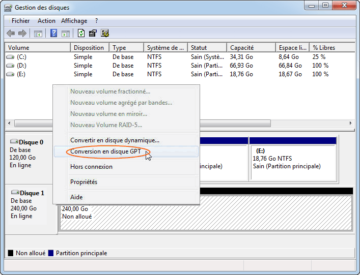 Convertir en disque GPT