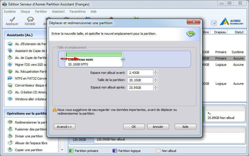 Shrink partition E
