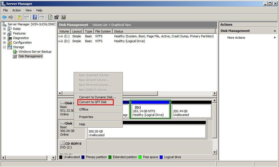 Convert to GPT Disk Disk Management