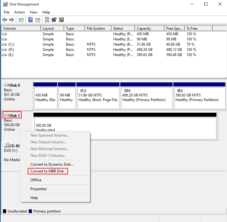 Convert to MBR Disk