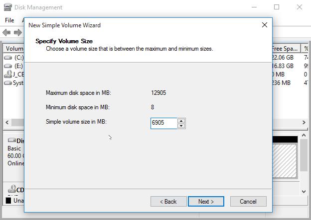 Specify Volume Size