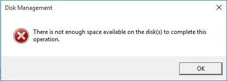There Is Not Enough Space Available on The Disk