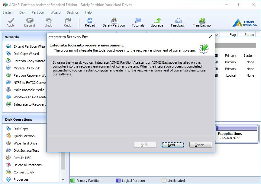 Integrate AOMEI Partition Assistant or AOMEI Backupper to
