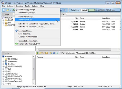 how to use easeus partition bootable usb