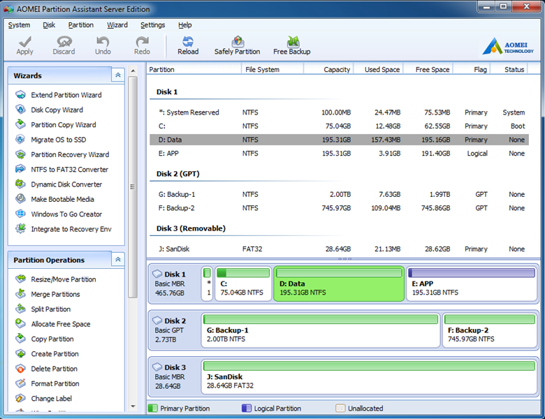 Windows 7 AOMEI Partition Assistant Server Edition 7.0 full