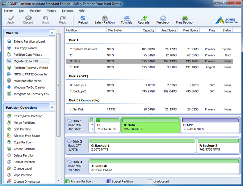 AOMEI Partition Assistant Standard Edition full screenshot