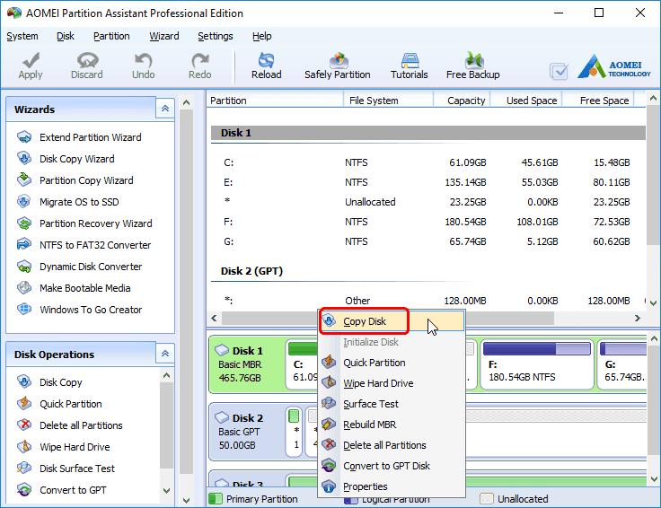 Disk Copy Tool - AOMEI