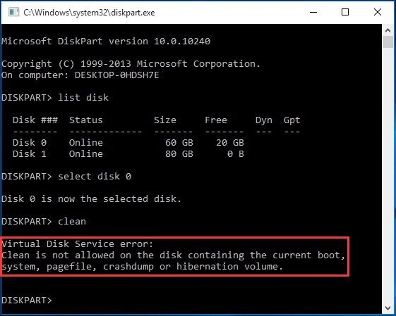 Virtual Disk Service Error Clean Is Not Allowed