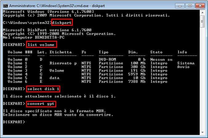 Diskpart Convertire GPT