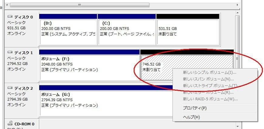 3TB HDDは2TBしか認識