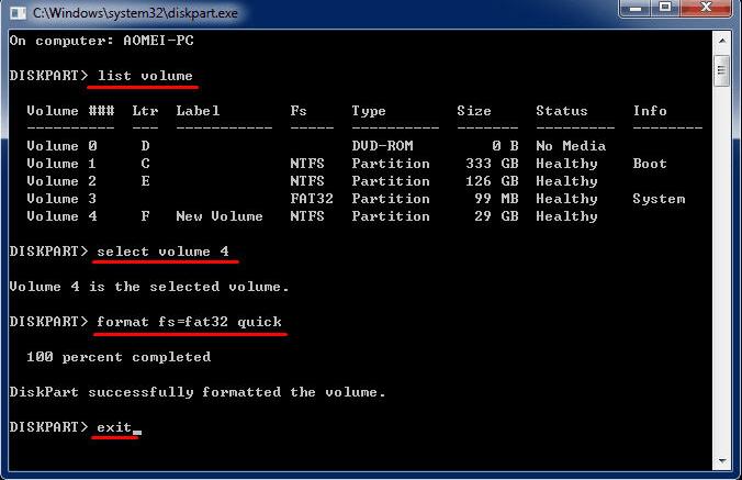 DiskpartでFAT32にフォーマット