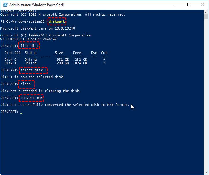 PowerShellでGPTをMBRに変換