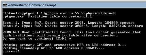 MBRからGPTへのディスク変換