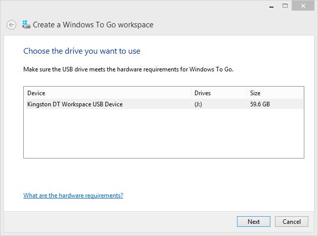 Windows To Goワークスペースを作成