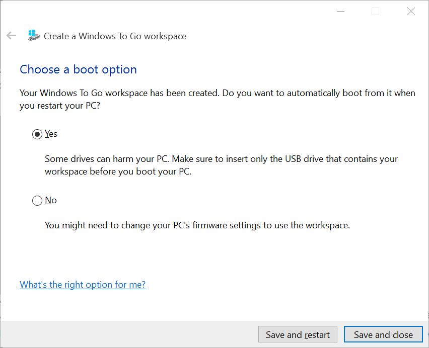 Windows To Goワークスペースを作成して保存して閉じる