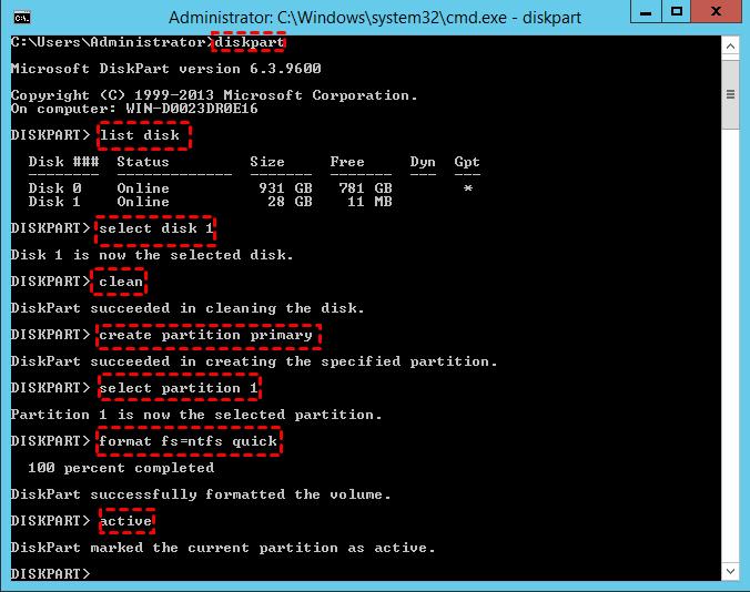 Diskpartを使用してUEFIブータブルUSBを作成