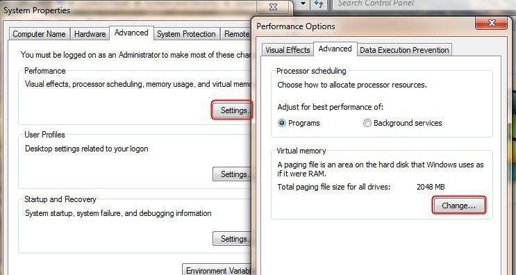 how to change virtual memory