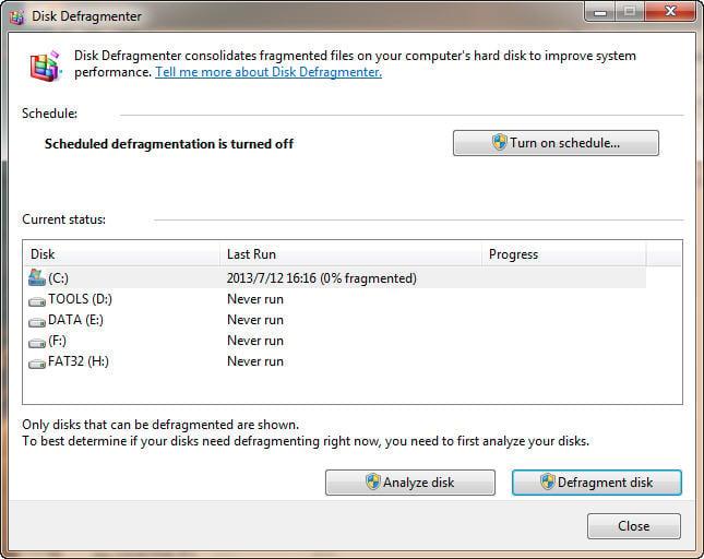 disk defragmenter in windows 7