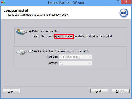 First step of Extend Partition Wizard
