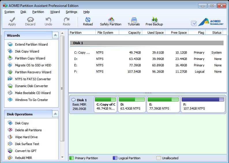 Main interface of AOMEI Partition Assistant Professional Edition