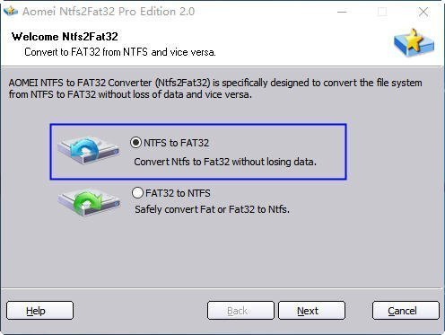 Choose NTFS to FAT32