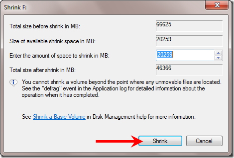 Available Shrink Space Windows