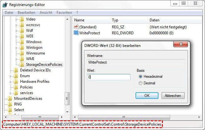 Den Schreibschutz im Registrierungs-Editor entfernen
