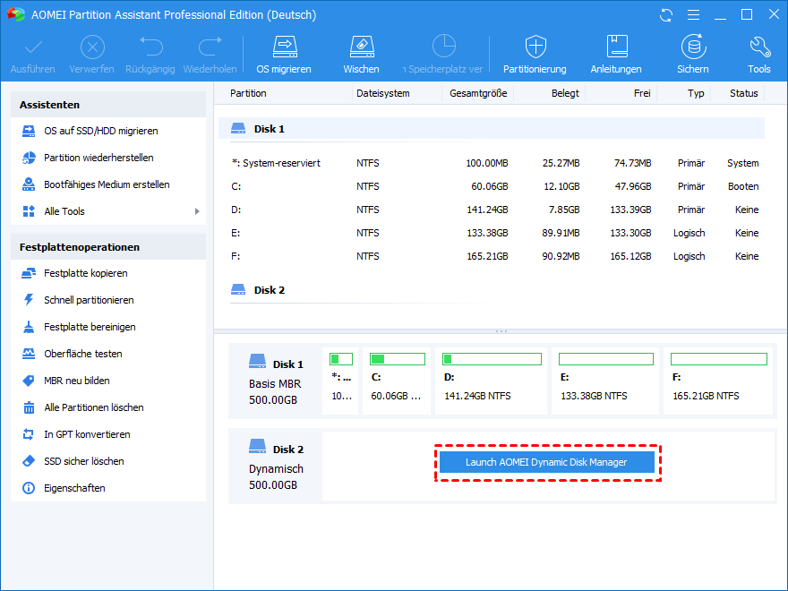 Launch AOMEI Dynamic Disk Manager